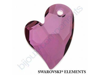 SWAROVSKI ELEMENTS přívěsek - Devoted 2 U Heart, crystal lilac shadow, 27mm