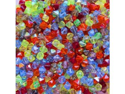 skleněné korálky - mix skleněných luceren s pokovem AB / cca 6x5mm