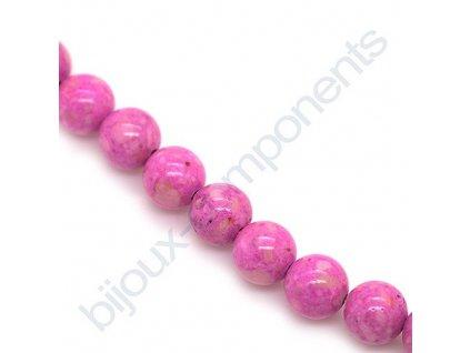 Polodrahokamové kuličky - Pink riverstone (dyed)