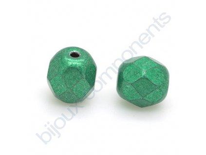Ohňové korálky barvené - metalické, cca 4mm/ tmavě zelené