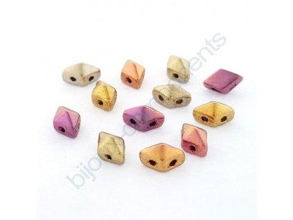 Skleněné mačkané korálky - dvoudírkové DIAMONDUO™ Mini 4x6mm
