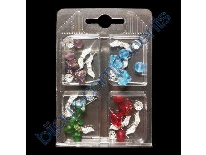 Set s korálky - andílci, mix barev, cca 11x7,5x1,5cm