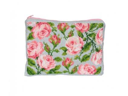 Kosmetická taška s růžemi - vyšívací sada
