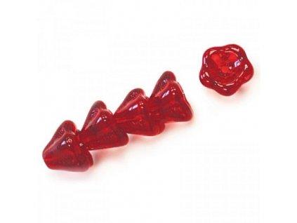 Skleněné korálky mačkané - kytičky / zvonečky, červené