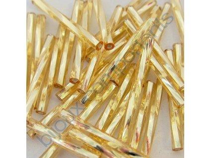 PRECIOSA Skleněné tyčinky, kroucený průtah -15 mm - světle zlaté/stříbrný průtah