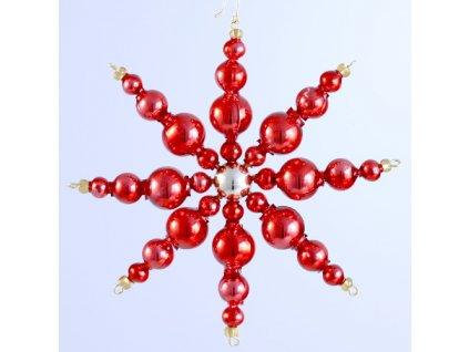 Rukodělná stavebnice - vánoční hvězda červená, cca 11x11 cm