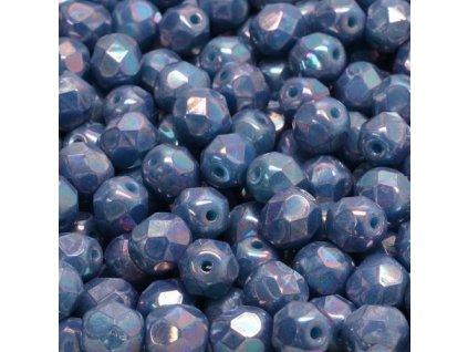 Ohňové korálky barvené, cca 6mm, modré/růžový pokov
