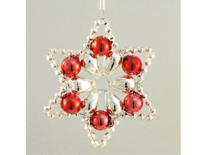 Rukodělná stavebnice - vánoční hvězda stříbrná/červená, cca 6x6cm