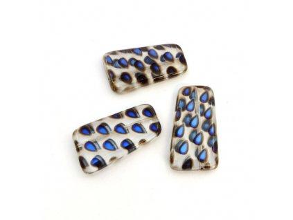 Skleněný plochý korálek - krystal s modrými kapkami