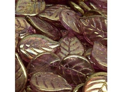 Skleněné lístky- jabloňové - fialový listr se zlatým zatíráním