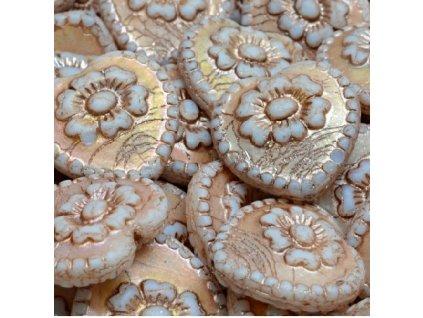 Ručně vyráběné korálky - srdce s růží  -  bílé se starorůžovým zatíráním
