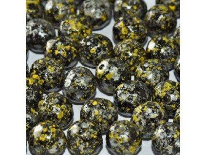 Skleněné ohňové korálky -černé/pokov 45701, vel. cca 8 mm