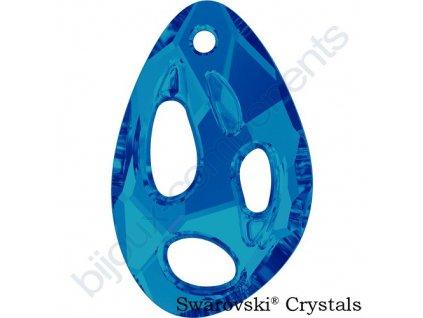 SWAROVSKI CRYSTALS přívěsek - Radiolarian, crystal bermuda blue, 34x22mm