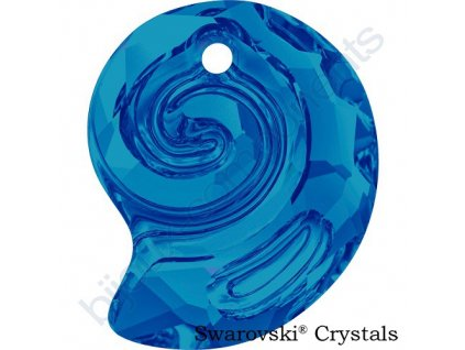SWAROVSKI CRYSTALS přívěsek - Sea Snail, crystal bermuda blue, 14mm