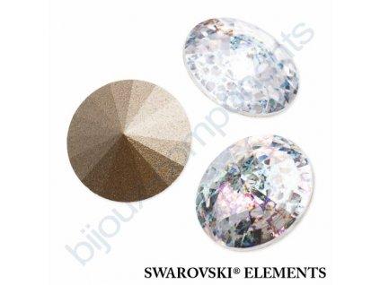 SWAROVSKI ELEMENTS kameny - Rivoli Chaton, crystal white patina, 12mm