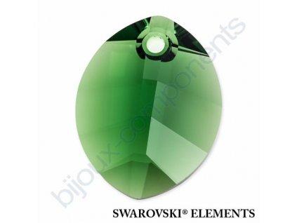 SWAROVSKI ELEMENTS přívěsek - pure leaf, dark moss green, 23mm