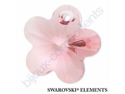SWAROVSKI ELEMENTS přívěsek - kytička, light rose, 12mm