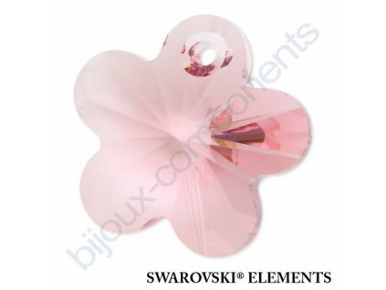 SWAROVSKI ELEMENTS přívěsek - kytička, light rose, 14mm