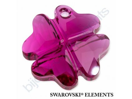 SWAROVSKI ELEMENTS přívěsek - Čtyřlístek, fuchsia, 23mm