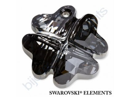 SWAROVSKI ELEMENTS přívěsek - Čtyřlístek, crystal silver night, 28mm