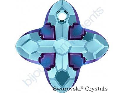 SWAROVSKI CRYSTALS přívěsek - Cross Tribe, aquamarine / metallic blue, 14mm