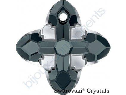 SWAROVSKI CRYSTALS přívěsek - Cross Tribe, graphite / light chrome, 14mm