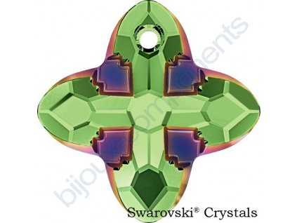 SWAROVSKI CRYSTALS přívěsek - Cross Tribe, peridot / scarabeus green, 14mm