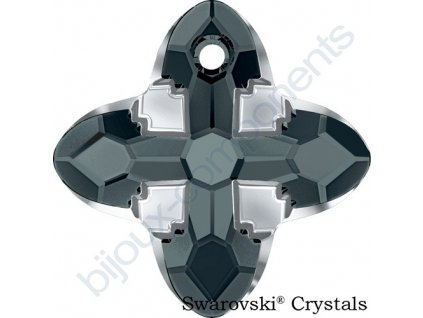 SWAROVSKI CRYSTALS přívěsek - Cross Tribe, graphite / light chrome, 24mm