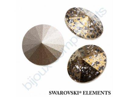SWAROVSKI ELEMENTS kameny - Rivoli Chaton, crystal gold patina, 14mm