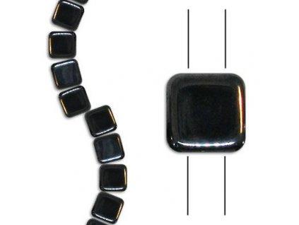 Skleněné korálky mačkané - dvoudírkové čtverečky styl Tile, černé / hematit