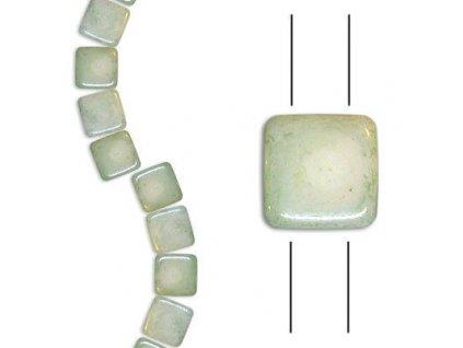 Skleněné korálky mačkané - dvoudírkové čtverečky styl Tile, bílé/sv.zelený pokov