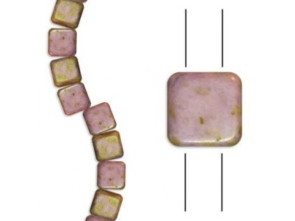 Skleněné korálky mačkané - dvoudírkové čtverečky styl Tile, bílé mat/hnědý pokov
