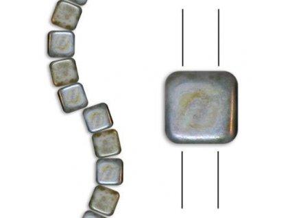 Skleněné korálky mačkané - dvoudírkové čtverečky styl Tile, bílé mat/zelený pokov
