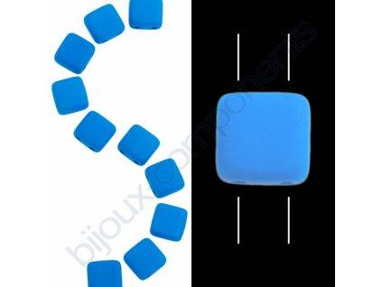 Skleněné neonové korálky s UV efektem mačkané, dvoudírkové čtverečky styl Tile, modré