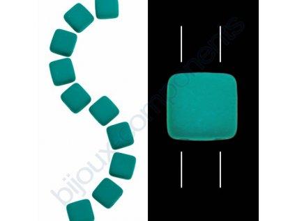 Skleněné neonové korálky s UV efektem mačkané, dvoudírkové čtverečky styl Tile, tmavě zelené