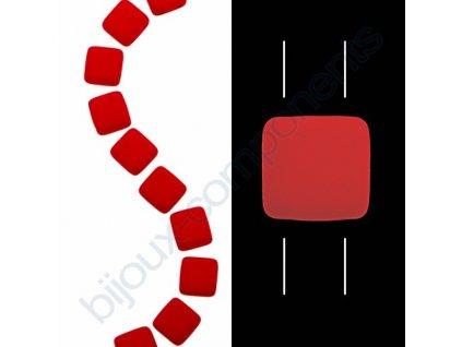 Skleněné neonové korálky s UV efektem mačkané, dvoudírkové čtverečky styl Tile, červené