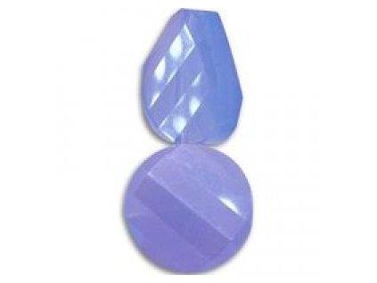 Broušené korálky - twist, sky blue opal