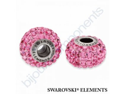SWAROVSKI ELEMENTS BeCharmed Pavé s xilion square fancy stone - rose/rose steel, 15mm