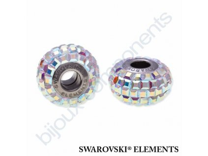 SWAROVSKI ELEMENTS BeCharmed Pavé s xilion square fancy stone - white/crystal AB steel, 15mm