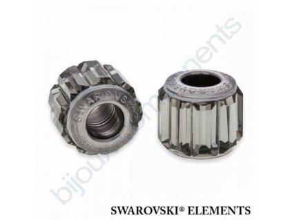 SWAROVSKI ELEMENTS BeCharmed Pavé s baguette fancy stone - silver/black diamond steel, 10,5mm