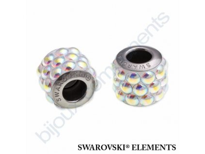 SWAROVSKI ELEMENTS BeCharmed Pavé cabochon - white/crystal AB steel, 10,5mm
