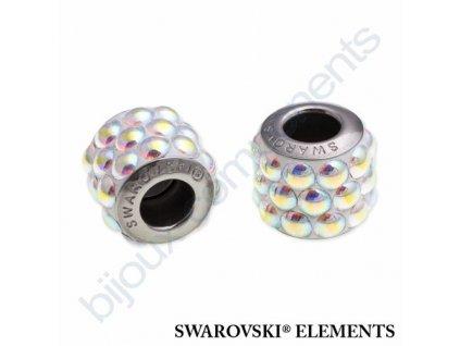 SWAROVSKI ELEMENTS BeCharmed Pavé cabochon - white/crystal AB steel, 10,5mm