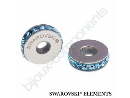 SWAROVSKI ELEMENTS BeCharmed Pavé Stopper s xilion square fancy stone - light blue/aquamarine steel, 13mm
