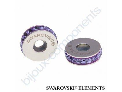 SWAROVSKI ELEMENTS BeCharmed Pavé Stopper s xilion square fancy stone - purple/tanzanite steel, 13mm