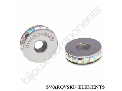 SWAROVSKI ELEMENTS BeCharmed Pavé Stopper s xilion square fancy stone - white/crystal AB steel, 13mm