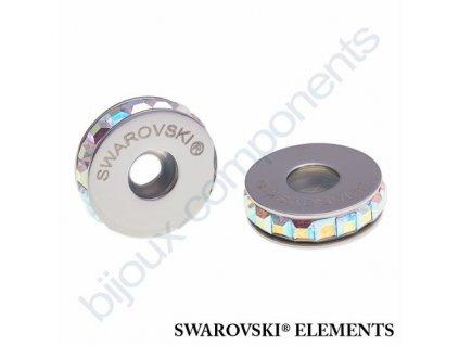 SWAROVSKI ELEMENTS BeCharmed Pavé Stopper s xilion square fancy stone - white/crystal AB steel, 13mm