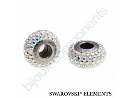SWAROVSKI ELEMENTS BeCharmed Pavé slim - white/crystal AB steel, 13,5mm
