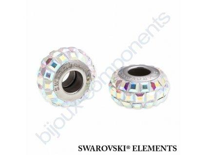 SWAROVSKI ELEMENTS BeCharmed Pavé slim - white/crystal AB steel, 13mm