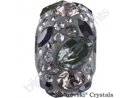 SWAROVSKI CRYSTALS BeCharmed Pavé - grey/black diamond, jet hematite, crystal silver shade, greige, steel, 15mm