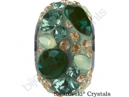 SWAROVSKI CRYSTALS BeCharmed Pavé - pearl jade/emerald, chrysolite opal, light peach, erinite, steel, 15mm